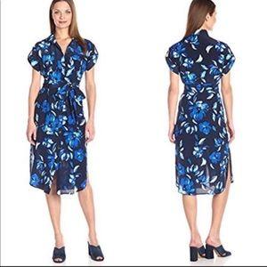 Yumi Kim Blue Floral Midi Shirt Dress Medium